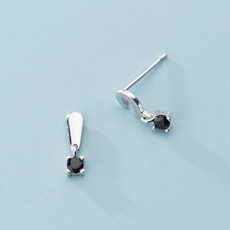 INZATT Real 925 Sterling Silver Zircon Asymmetry Stud Earrings For Fashion Women Party Cute Fine Jewelry Minimalist Accessories