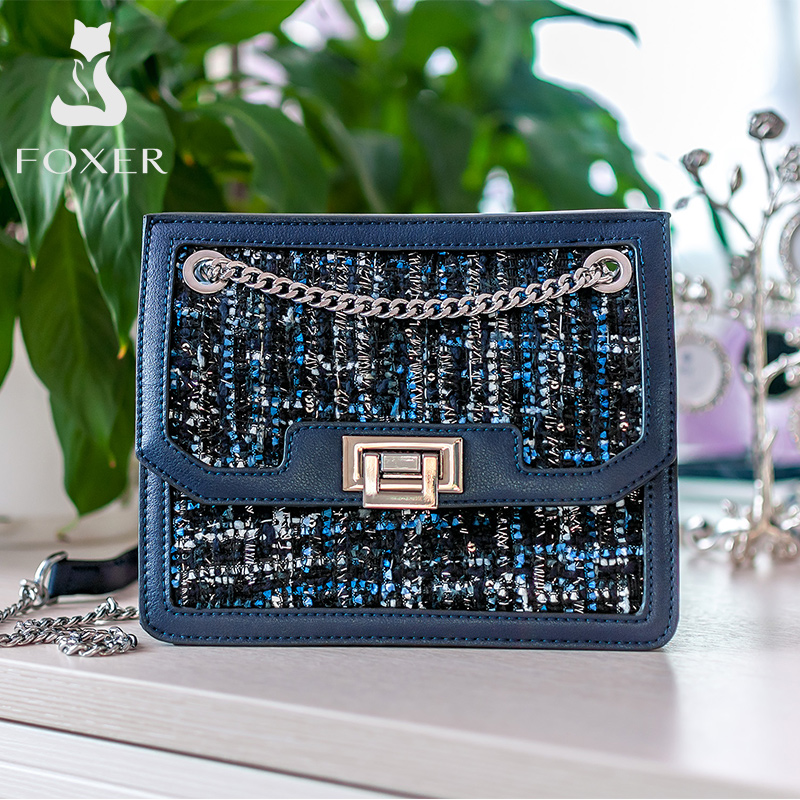 FOXER Lady Brand Design Women High Quality Elegant Flap Female Shoulder Bag New Fashion Crossbody Bag Chain Strap Messenger Bags