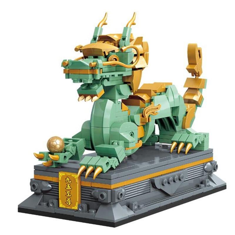 2020 создатель города в китайском стиле мини уличный вид китайские сказки животное дракон модель строительные блоки кирпичи игрушка кукла