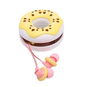 Image 5 - 1pcs 3.5mm In Ear Cute Earphones  Macarons Donut Cartoon Earphone Q17 White/Pink/Green/Blue/Black/Mint Green Portable Earplug