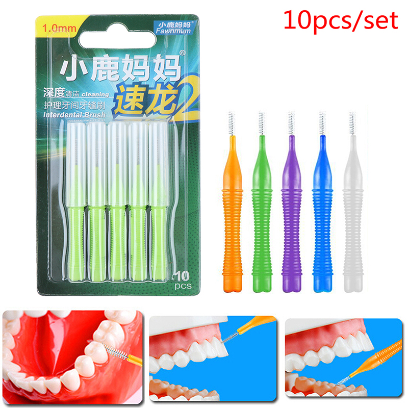 10pcs Adults Interdental Brush Clean Between Teeth Dental Floss Pick Push-pull Toothpick Cleaning Dental Brushes Teeth Care New