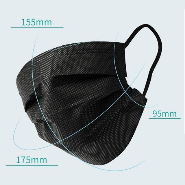 5pcs-100pcs High-quality Non-Woven Fabric Meltblown Cloth Adult Disposable Black Mask Filter Face Mask Black Masks 2