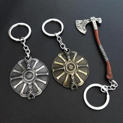 Game God Of War 4 Kratos Leviathan Axe Keychains Exquisite Crystal Carved pattern Axe Pendant key holder Souvenir Keychain Toys