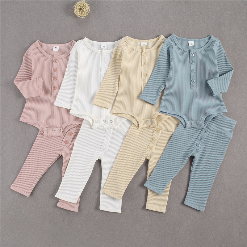 0-24M Spring Autumn Baby Clothing Sets Newborn Infant Boys Girls Ribbed Knitted Bodysuits Tops+Button Pants Casual Outfits