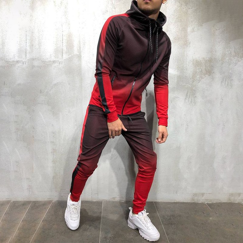 Fashion New Autumn Winter 3D Gradient Sports Suit Hooded Zipper Cardigan Sports Two-piece