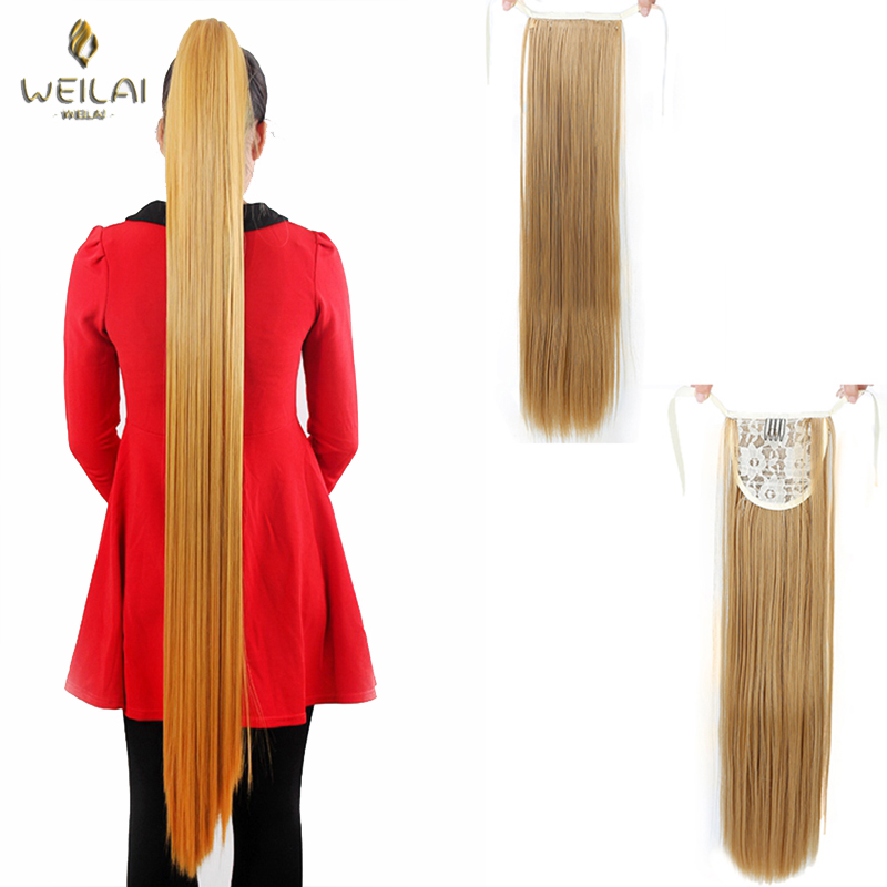 WEILAI 22 '' - 32 '' Super Long Straight Clip In Tail False Hair Ponytail Hairpiece With Hairpins Synthetic Tail Extensions