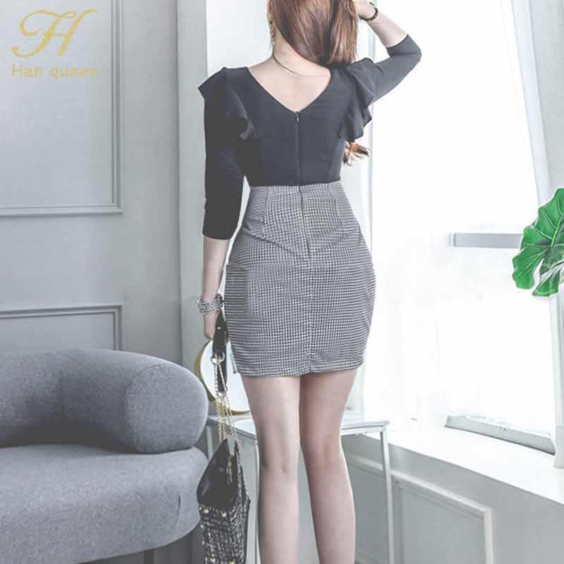H Han queen сексуальное Сетчатое облегающее платье с оборками для женщин 2019 осенние вечерние мини платья для ночного клуба корейский стиль Тонкий Vestidos