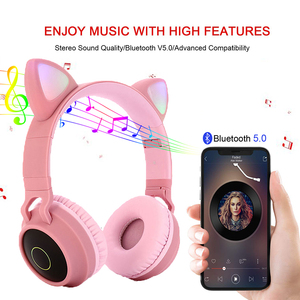 Image 4 - Cute Cat LED Bluetooth 5.0 Headphone With TV PC Car Laptop Bluetooth Adapter Wireless Noise Cancel Music Helmet For Kid Girl