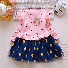 Girl Dress Flower Pattern Unicorn Dress for Girls Autumn Kids Children Clothing Princess Dress Long Sleeve roupas infantis недорого
