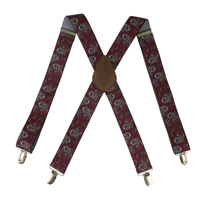 Winfox  Men's Suits Elastic Braces Women Suspenders Strap Adjustable Braces Paisley Suspenders