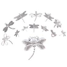 13 шт./компл. микс тибетских серебряных Подвески с кулоном стрекозы DIY для ожерелья для ножного браслета браслет аксессуары ювелирных изделий