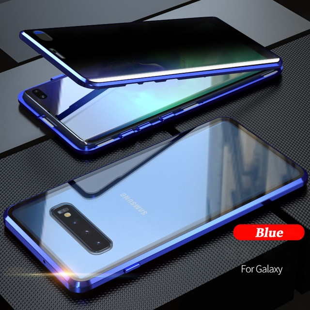 360 Magnetic Tempered Glass Privacy Metal Case For Samsung A51 A71 A70 A50 S20 S10 S9 S8 Note 10 Plus Antispy Protective Cover