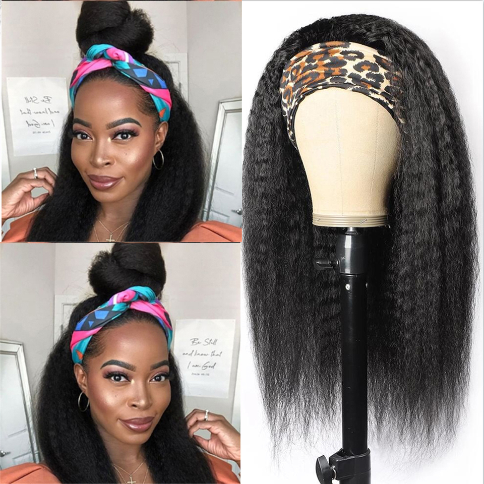 Kinky Straight Headband Wig Glueless Full Machine Human Hair Wigs For Black Women Brazilian Remy Human Hair Scarf Wig