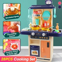 Kids Simulation Kitchen Set Pretend Play Chef Cooking Game Miniature Food Mini Cookware Spray Light Toy Children Christmas Gift