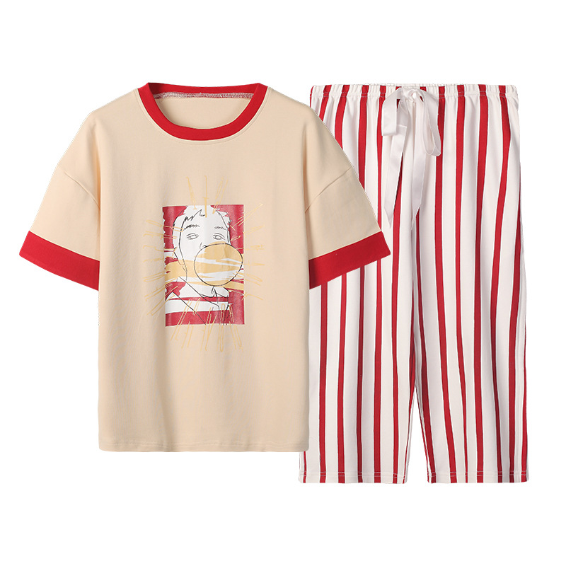 QWEEK Pajamas Cotton Sleepwear Pijamas Feminino Print Casual Lounge Wear Loose Summer Pijama 2 Piece Set Women Home Clothes