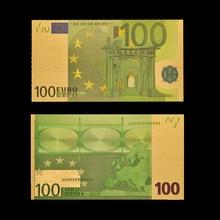 Pièces de monnaie en papier plaqué or 24k, Collection de billets Souvenir, Euro 100