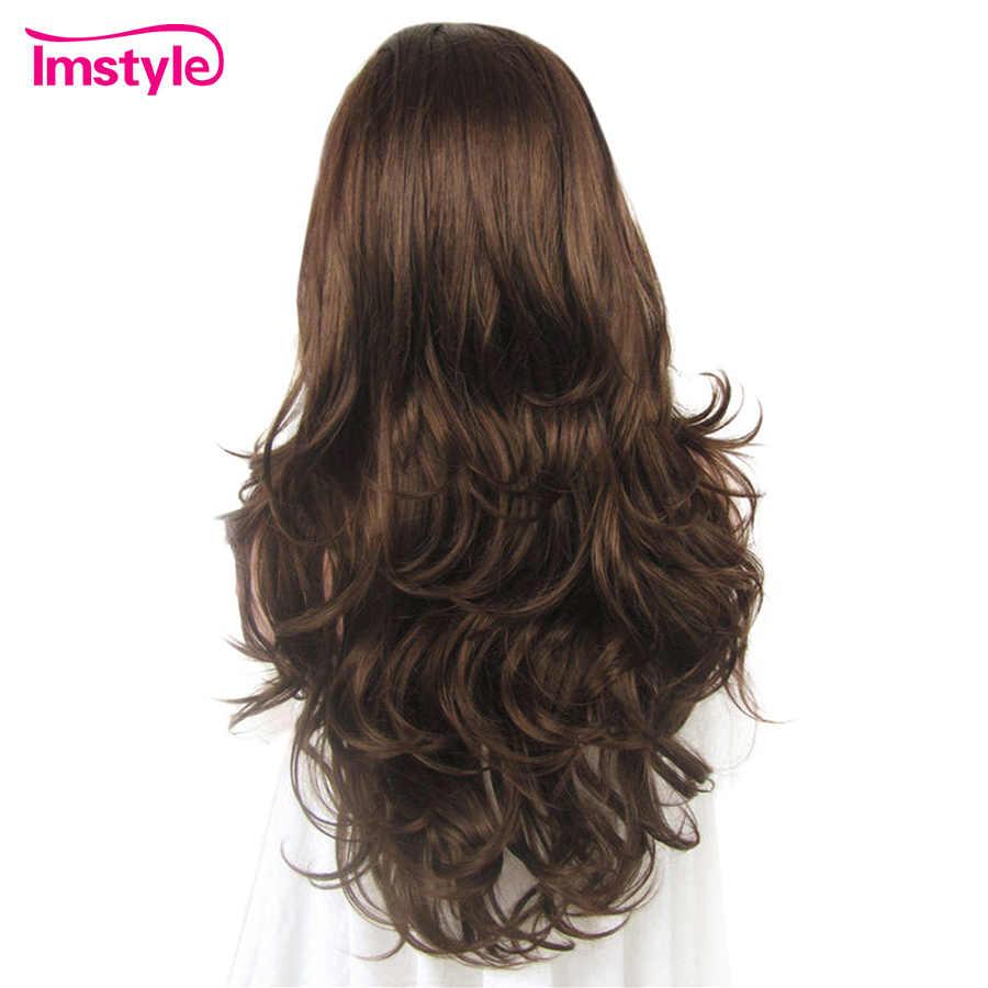 Imstyle perucas onduladas naturais do laço da parte dianteira do laço para a peruca diária glueless resistente ao calor do laço da fibra sintética