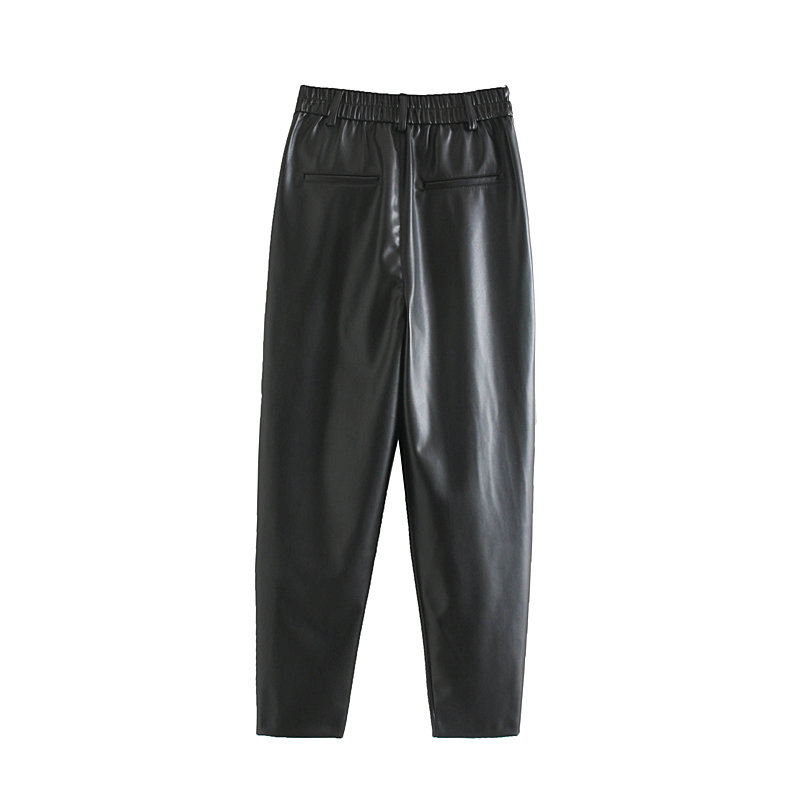 H112a3db83aa049c9a1b7559d1884b5b9d - New Fashion Autumn Winter Women High Waist Black Faux Leather Pants Lady PU Loose Pencil Trousers Elegant Pocket Streetwear