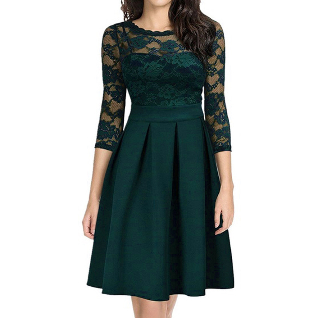 Plus Size Black Dress Women Summer Fashion Sexy Casual Lace Hollow out Three Quarter Patchwork Party