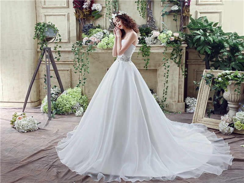 H & S כלה לבן טול חתונה עם רעלה סטרפלס קריסטל כלה שמלות תחרה עד רכבת robe mariee 2019 boho dentelle