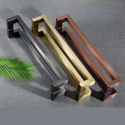 Uchwyt ze stali nierdzewnej podwójne zakrzywione kwadratowe rury czarne różowe złoto oprawione drzwi drewniane drzwi biurowe klamki do drzwi WF7041005|Klamki do drzwi|Majsterkowanie -