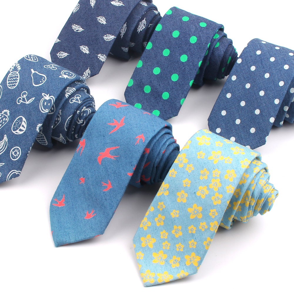 Jeans Skinny Tie For Men Women Dots Slim Neck Tie Suits Denim Mens Ties For Wedding Business Floral Print Men Necktie Gravatas
