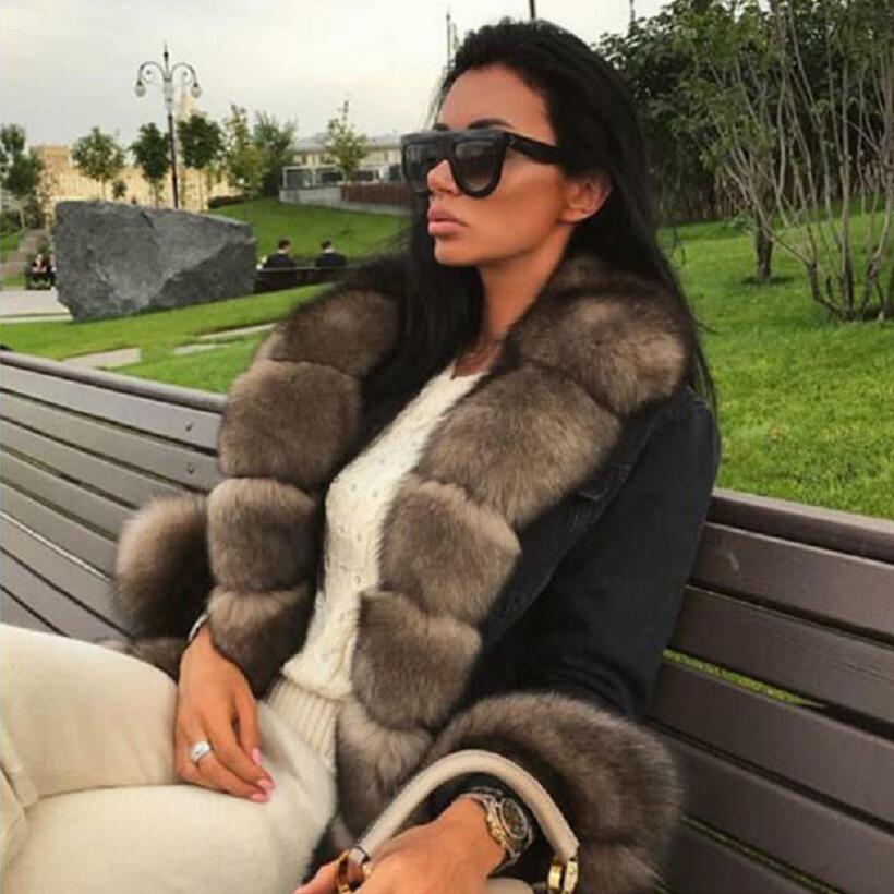 ladies explosion models new natural fox fur denim jacket casual warm fashion European and American street style