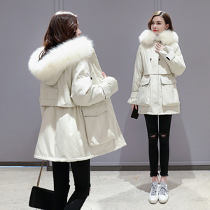 Image 5 - Plus Size Oversized Winter Down Cotton Padded Jacket Women Thick Warm Long Parka Mujer 2019 Big Fur Collar Hooded Coat Female