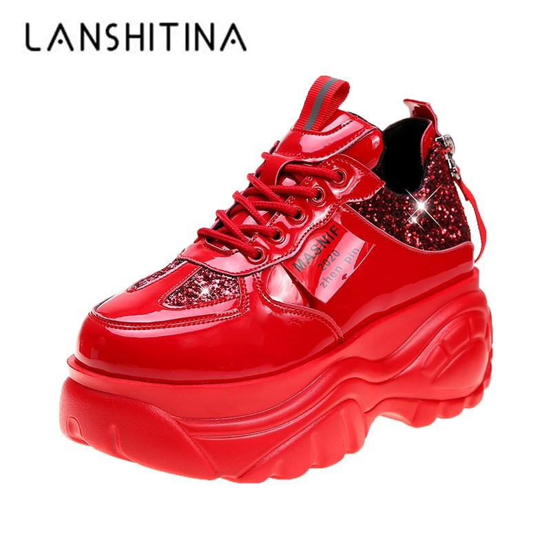 Women Platform Sneakers 2020 New Arrived Leather Casual Shoes 7CM Heels Red Vulcanized Shoes Women Designer Bling Chunky Sneaker