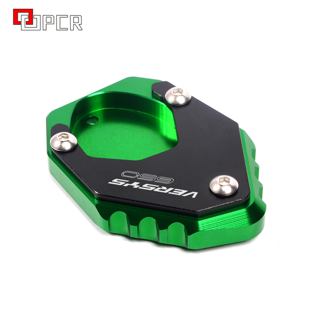 With LOGO Versys 650 Motorcycle Green&Black Bike Side Stand Extension Enlarger Plate For KAWASAKI VERSYS 650 2015 2018 2019