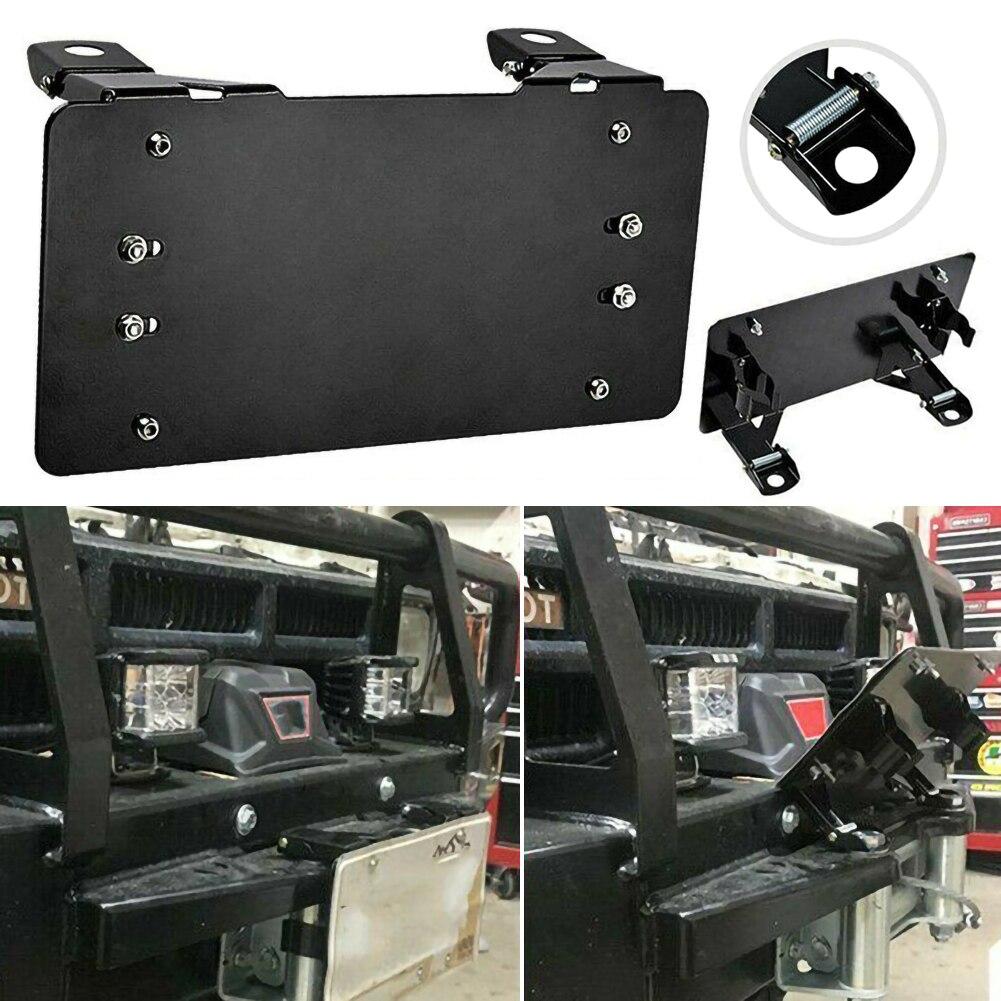Auto License Plate Frame Hole Guide Rope Holder For Fairlead License Plate Mount Bracket Holder Steel FLIP-UP Winch Roller