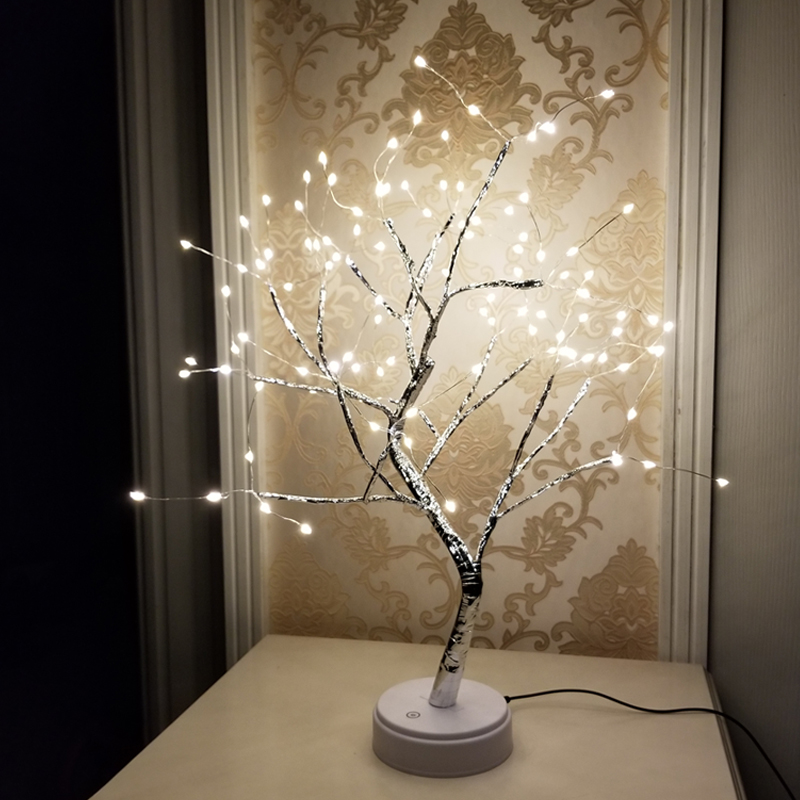 108 LED USB Fire Tree Light Copper Wire Table Lamps Night Light For Home Indoor Bedroom Wedding Party Bar Christmas Decoration