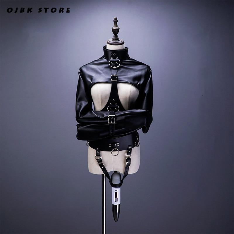 SM Open Breast Cupless Leather BDSM Bondage Jacket Top Women's Restraint Straight Fetish Forced Orgasm Belt For Vibrator Set