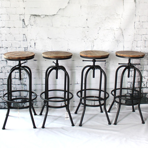 iKayaa Bar Stool Industrial Style Height Adjustable Swivel Barstool Natural Pinewood Top Kitchen Dining Chair Breakfast Chairs
