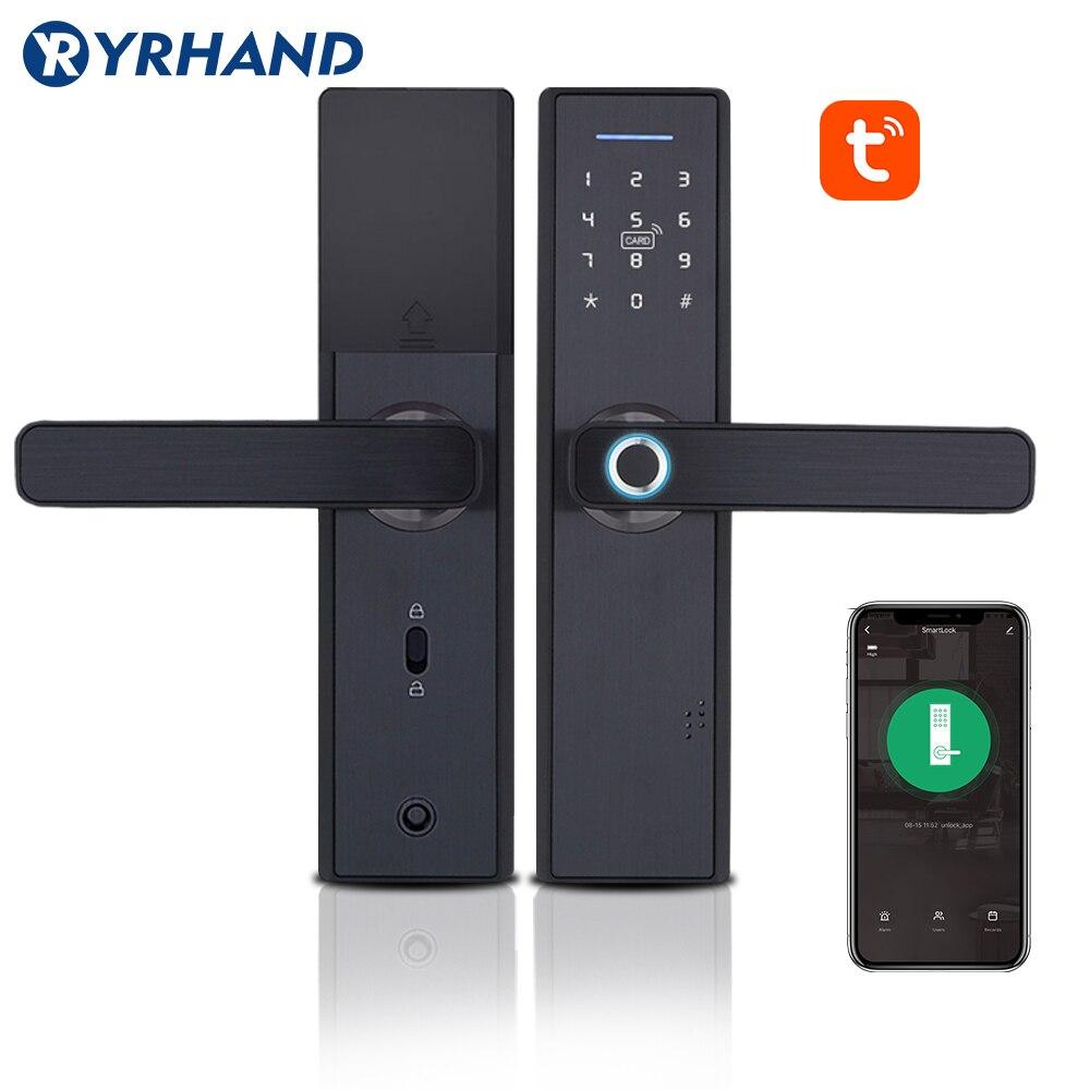 Tuya ביומטרי טביעת אצבע מנעול, אבטחה אינטליגנטי חכם מנעול עם WiFi APP סיסמא RFID נעילה, דלת מנעול אלקטרוני בתי מלון
