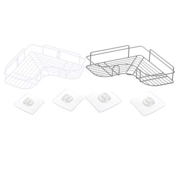 Akcesoria łazienkowe półka ścienna półka narożna rama półka łazienkowa Organizer regał magazynowy kuchnia uchwyt statywu półka po prysznic tanie i dobre opinie Jeden poziom Typ ścienny CORNER PET+SEBS+PS+ wrought iron Other Storage Rack white silver Nordic style 315g