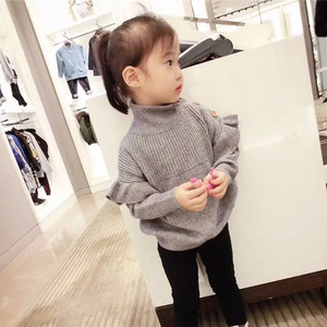 Image 4 - Baby Girl Sweater Ribbed Turtleneck for Girls 2020 Winter Tops Clothes Kids Cardigan Toddler Pullover