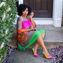 Vestido sexy colorido vazn, vestido midi decote redondo corte em linha a manga comprida vestido especial sensual moda verão 2020