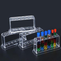 VILLCASE 51pcs Clear Plastic Test Tube Test Tube Rack Holder for Scientific Experiments School Laboratory Supplies