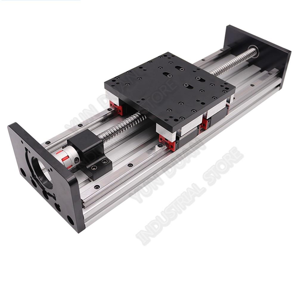 100 MM-1000 MM course lourde charge glissière table plate-forme Double Rail de guidage HGR20 4 pièces curseur 20MM module linéaire coulissant vis à billes CNC