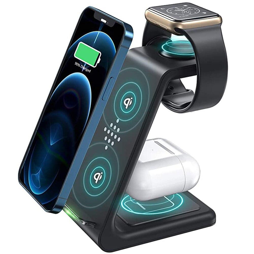 3 em 1 estação de carregador sem fio qi rápido apple suporte carregamento sem fio doca para iphone 12/11/8 pro max airpods iwatch samsung s20