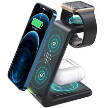 3 em 1 estação de carregador sem fio qi 15w rápido apple suporte carregamento sem fio doca para iphone 12/11/8 pro max airpods iwatch samsung