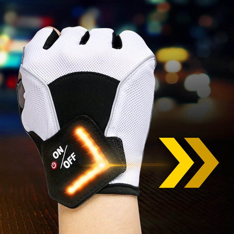Riding Outdoor Bike Gloves MTB LED Turn Signal Half Finger Sport Gloves Intelligent GEL Cycling Gloves Bicycle Non-slip