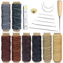 18 Pieces Leather Craft Tools With Hand Sewing Needles Drilling Awl Waxed Thread And Thimble For Leather Upholstery Carpet Canva(China)