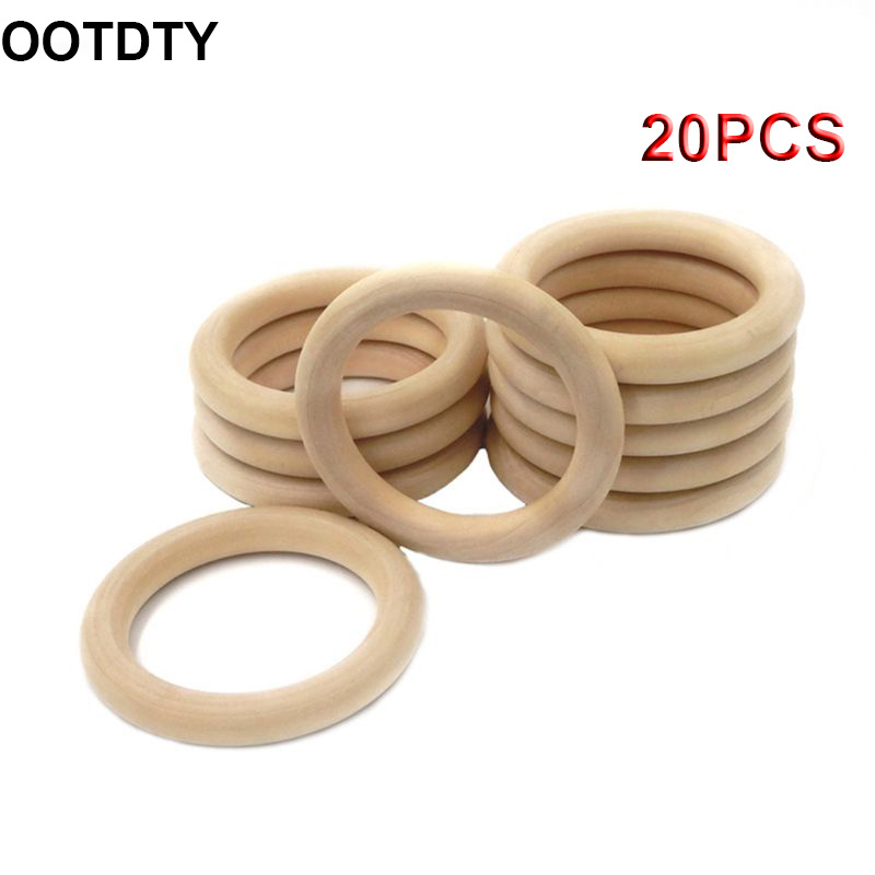 20Pcs Natural Wooden Baby Teether Ring Infant Molars DIY Teethers Accessories Newborn Bracelet Craft Toy Outer Diameter 55mm