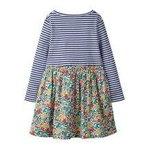 SAILEROAD Baby Girls Long Sleeve Dress 2 7Years Flower Print Kids Dress 2020 Autumn Toddler Girls Dress Childrens Clothing
