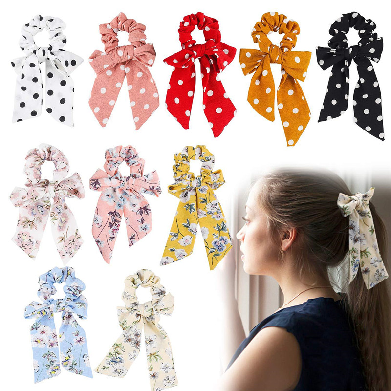 Women Flower Print Chiffon Scrunchie Elastic Hair Band Bow Hair Ropes Sweet Ladies Head Band Girls Hair Ties Hair Accessories