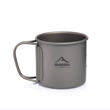 Widesea Camping Mug Titanium Cup Tourist Tableware Picnic Utensils Outdoor Kitchen Equipment Travel Cooking set Cookware Hiking 6