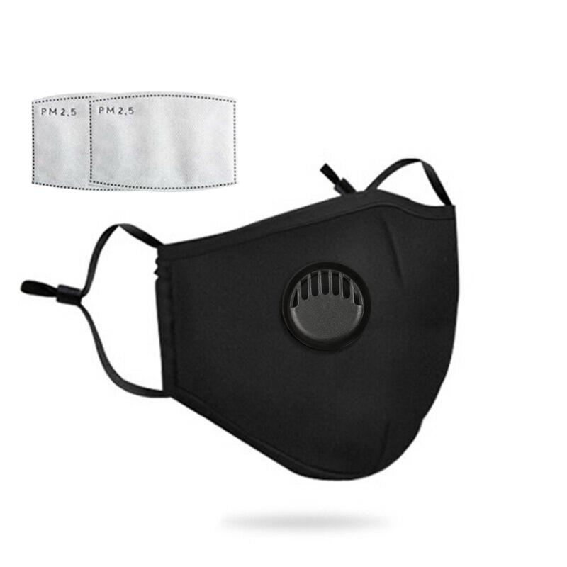 Cotton PM2.5 Black Mouth Face Mask With 10 Activated Carbon Filter Windproof Mouth-muffle For Men Women Black Fashion