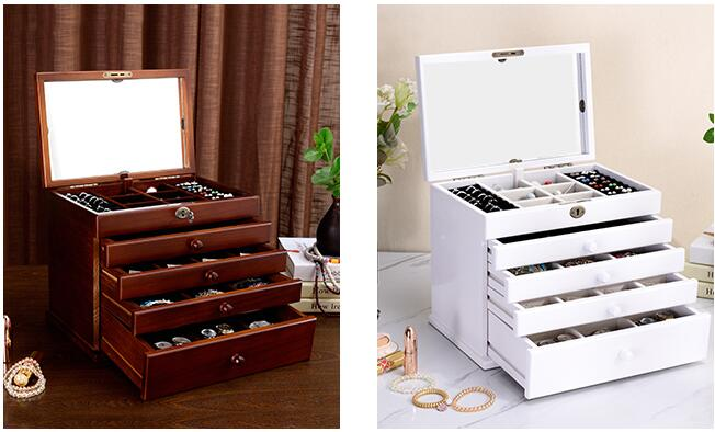 the mirror Solid wood wooden box makeup Storage Boxes